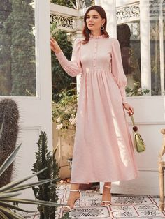 To find out about the Button Up Ruffle Trim Dress at SHEIN, part of our latest Dresses ready to shop online today! Stylish Dresses For Girls, Stylish Work Outfits, Simple Dresses, Casual Dresses, Fashion Dresses, Beautiful Maxi Dresses, Cute Dresses, Vintage Dresses, Minimal Dress