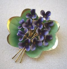 Art Deco Posy of Enamel Painted Violets Brooch