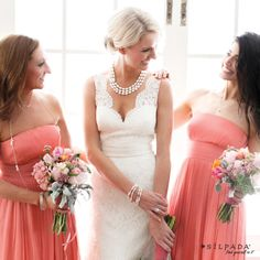 Romantic #wedding style: Make your day dreamy with feminine frills featuring pretty pearls for you and your girls.