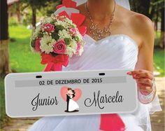 Placa de Carro Personalizada - Casamento