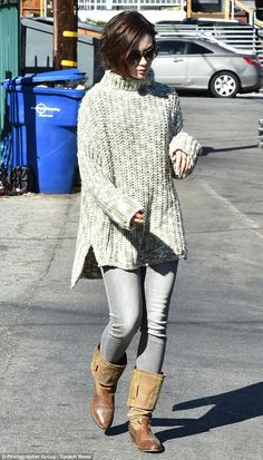Lily Collins goes street chic in cosy turtleneck sweater and skinny jeans   Daily Mail Online