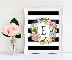 Stripe Floral Initial Printable ❥ No physical item will be shipped to you. You are purchasing high resolution JPEG and PDF files (both in RGB