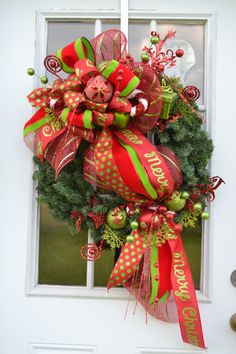 Merry Christmas Wreath 1, Deco mesh Christmas Wreath, Merry Christmas wreath with ornaments