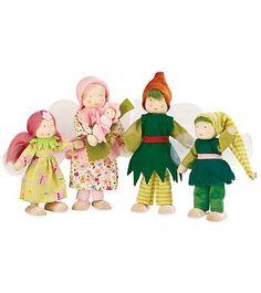Kathe Kruse Fairy Dollhouse Dolls. Really love the baby fairy on a leaf bed.