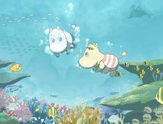 Moomin and Snork Maiden swimming Vintage Cartoon, Cute Cartoon, Cute Wallpaper Backgrounds, Cute Wallpapers, Moomin Wallpaper, Illustrations, Illustration Art, Tove Jansson, Moomin Valley