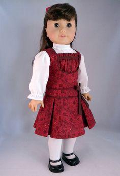 Jumper & blouse set for American Girl Doll Samantha/Nellie/Rebecca - An original design from Bringing Joy. American Girl Doll Samantha, American Girl Dress, American Doll Clothes, Ag Doll Clothes, Doll Clothes Patterns, Clothing Patterns, Doll Patterns, America Girl, Historical Clothing