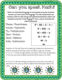 order of operations posters
