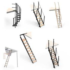 TL 30 Mezzanine with L long straight stairs Stair Ladder, Wooden Ladder, Modern Small House Design, Tiny House Design, Retractable Stairs, Garde Corps Design, Straight Stairs, Types Of Stairs, Shed With Loft