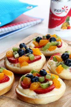 Mini fruit pizzas are a super easy after-school snack the kids will love. Simply spread Yoplait on a small bagel, top with fresh fruit and enjoy!
