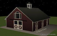 Barn Plans -4 Stall Horse Barn - Design Floor Plan- The Jenna
