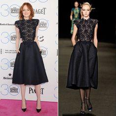 Pin for Later: Warum sollten die Stars auch bis zum Herbst warten? Emma Stone bei den Independent Spirit Awards Designer: Monique Lhuillier Tage, die seit der Modenschau vergangen sind: 8