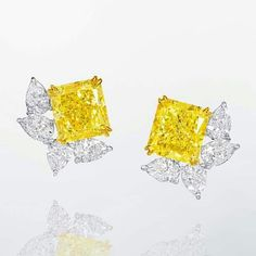 Just look at these mouthwatering 16.49 carat Fancy Yellow and White Diamond Earrings by ronald abram