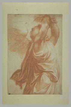 école de ALLEGRI Antonio Ecole lombarde Un ange debout, tourné vers la droite tenant des fleurs au-dessus de la tête