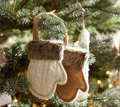 Fur Trim Mittens Ornament | Pottery Barn