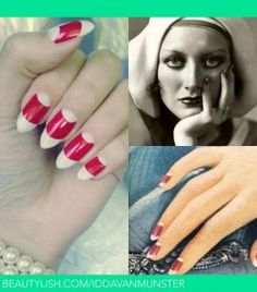 Spring Nail Trends to Try. Did you know the half moon manicure has been popular since the 1920's? Collage via Beautylish.com