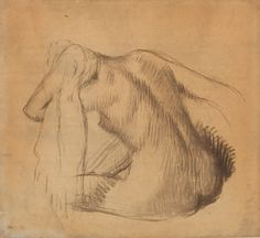 Edgar Degas (1834-1917), Femme nue assise s'essuyant le cou, calque contrecollé sur carton, 62 x 67 cm. Frais compris : 91 834 €. Mercredi 17 juin, salle 4 - Drouot-Richelieu. Audap-Mirabaud SVV. M. Lorenceau.