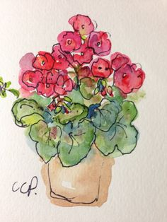 Red Geranium Watercolor Card by gardenblooms on Etsy