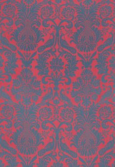 Anna Damask in rouge/Prussian blue, price upon request. Schumacher, Michigan Design Center, Troy