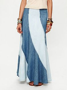 Free People Contrasting Denim Maxi Skirt