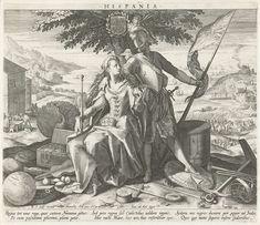 Raphaël Sadeler (I)   Spanje met Juno en Mars, Raphaël Sadeler (I), 1588 - 1595   Een allegorie op Spanje. In het midden onder een boom de goden Juno (vruchtbaarheid) en Mars (oorlog). Juno houdt een scepter en een granaatappel in de handen. Op haar schoot de Spaanse kroon. Mars heeft een vlag in zijn hand. Rondom hen op de grond liggen wapentuig, een wereldbol met erop Amerika, een schatkist met geld, een kompas en een anker als symbool voor de zeemacht. Op de achtergrond rechts twee…