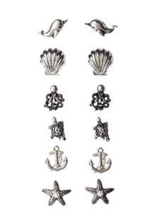 LOVEsick Multi Sea Creature Earring 6 Pair