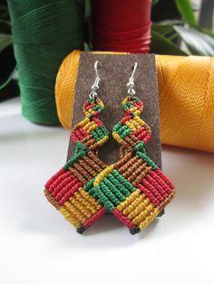 Macrame Earrings Rasta Color via Etsy
