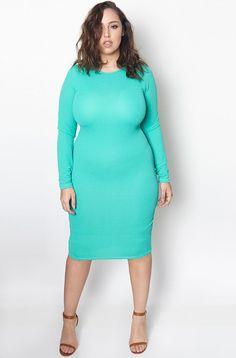 Plus Size Rebdolls Long Sleeve Crew Neck Midi Dress