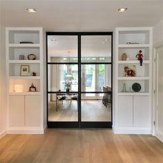Door Design Interior, Interior Design Living Room, Living Room Designs, Home Living Room, Living Room Decor, Room Divider Doors, Room Divider Bookcase, House Styles, Home Decor