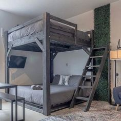 King / Queen / Full Loft Bed Custom Made w/ Ladder – My Dream Room Adult Loft Bed, Adult Bunk Beds, Bunk Beds For Boys Room, Queen Loft Beds, Beds For Small Rooms, Small Spaces, Open Spaces, Loft Bed Plans, Build A Loft Bed