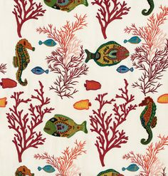fabric wallpaper Maison Paris Cole & Son De Gournay Coral and Fish