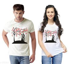 Couple Tshirts Trendy Couple T-Shirts Fabric: Semi Cotton  Sleeves: Half Sleeves Are Included Size: S - 36 in M - 38 in L - 40 in XL - 42 in XXL - 44 in Length: Up To 26 in Type: Stitched Description: It Has 2 Pieces Of T-Shirts Work: Printed Country of Origin: India Sizes Available: S, M, L, XL, XXL   Catalog Rating: ★4.1 (3362)  Catalog Name: Briar Standard Semi Cotton Couple T-Shirts Vol 1 CatalogID_101982 C79-SC1940 Code: 414-875863-