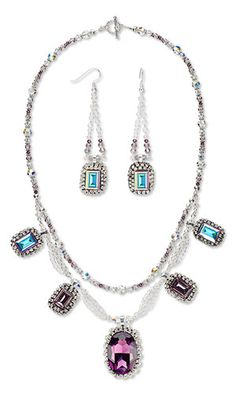 Double-Strand Necklace and Earring Set with SWAROVSKI ELEMENTS, Apoxie® Sculpt and Silver-Plated Brass Chain