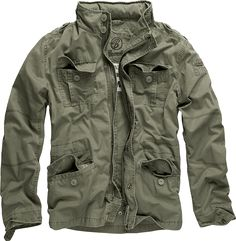 Brandit Men's Britannia Vintage Military Style Short Army Lightweight Jacket Medium Olive: Casual Cargo shorts made of super light, soft cotton with a special removable vintage belt! Army Parka, Parka Coat, Khaki Parka, Military Fashion, Mens Fashion, Military Field Jacket, Military Jackets, Men's Outerwear, Custom Knives