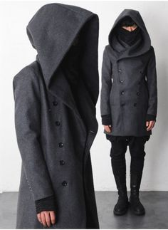Mens Dark Laurent Huge Hooded Thic Woolen Coat at Fabrixquare