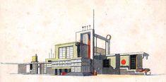 Exhibition of Northern Bohemia, Main entrance pavilion, Mladá Boleslav Czech functionalist renderings Art Deco Buildings, Main Entrance, Pavilion, Design Art, Architecture Design, Maine, Floor Plans, Drawings, Constructivism