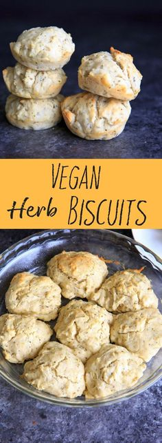 One Bowl Vegan Herb Drop Biscuits. Perfect with soup and easy to throw together. #trialandeater #vegan #biscuits