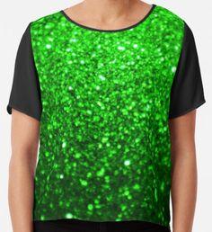 Sparkling Green Glitter  Chiffon Top Yellow Art, Green Art, Green Glitter, Watercolor Pattern, Wearable Art, Chiffon Tops, Classic T Shirts, Shirt Designs, Girly