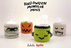 Mugs de Lalala Toys Halloween Mug, Halloween Crochet, Halloween 2014, Holidays Halloween, Coffee Cozy Pattern, Crochet Coffee Cozy, Crochet Cozy, Thanksgiving Crochet, Knit Art