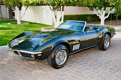My dream car - Fathom Green 1969 Chevrolet Corvette Stingray Convertible 427 Tri-power Chevrolet Corvette Stingray, 1969 Corvette, Old Corvette, Classic Corvette, Corvette Summer, Classic Mustang, Cadillac, Ford Mustang, Chevy