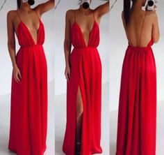 Free Shipping Custom Made Red Backless V Neck