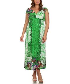 Look what I found on #zulily! Green Floral Surplice Maxi Dress - Plus by BellaBerry USA #zulilyfinds