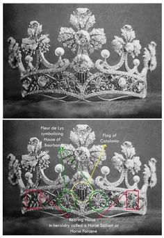 Masriera Tiara of Queen Ena of Spain.This was a wedding  gift to Queen Ena from the people of Catalonia.  Knowing a Tiara- symbolism as well as beauty