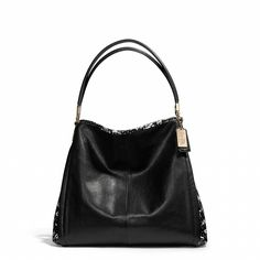The Coach Madison Small Phoebe Shoulder Bag in Two Tone Python Embossed Leather