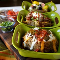 Themed Potato Bar Party Ideas: eg. Mexican - top with queso cheese, salsa, sour cream, guacamole, jalapenos, diced tomatoes, chopped scallions, ranch dressing, black olives, black beans, butter, salt, pepper - I Wash You Dry