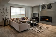 Neutral living area with fireplace. Living Area, Living Room, Neutral, Couch, Furniture, Home Decor, Settee, Decoration Home, Sofa