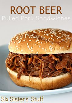 Slow Cooker Root Beer Pulled Pork Sandwiches -- Ingredients: 1 (3 pound) pork roast, 1 (12 oz) can root beer, 1 (18 oz) bottle of your favorite BBQ sauce, 8 hamburger buns