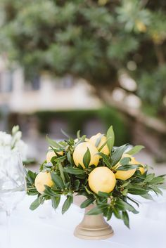 Whenever we hear Lake Como, we tend to think Clooney but that may no longer be the case after we soak up this elegant Italian wedding! Greek Wedding, Yellow Wedding, Floral Wedding, Wedding Flowers, Elegant Wedding, Summer Wedding, Lemon Centerpiece Wedding, Lemon Centerpieces, Wedding Destination