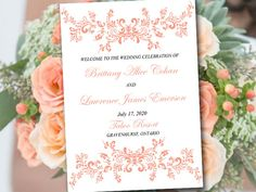 "Coral Wedding Program Template Fold Over ""Alice"" Booklet Program Order of Service - Half Fold Program - DIY Wedding Printable Download by PaintTheDayDesigns on Etsy"