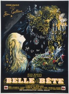Poster for Jean Cocteau's La Belle et la Bête (Beauty and the Beast) from 1946 - so beautiful!