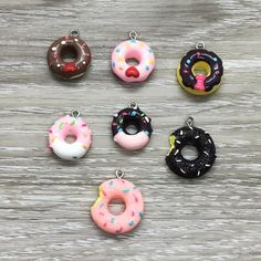 Tiny Donut Charms, Chocolate, Vanilla, Pink  – Simple Reminders Dainty Necklace, Dainty Jewelry, Jewelry Gifts, Donut Gifts, Motivational Gifts, Meaningful Jewelry, Mini Donuts, Bangle Bracelets With Charms, Fitness Gifts